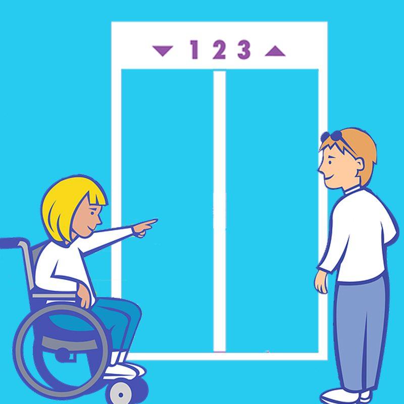 disabile e ascensore